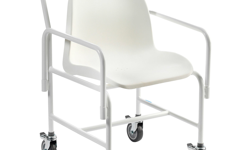 White wheeled shower chair