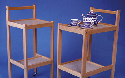 Wooden trolleys on wheels for indoor use