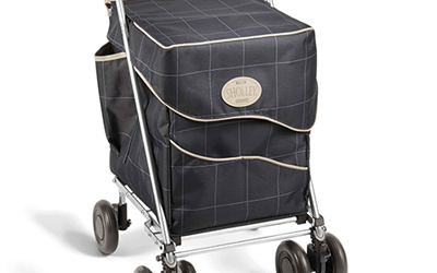 Black four-wheeled shopping trolley