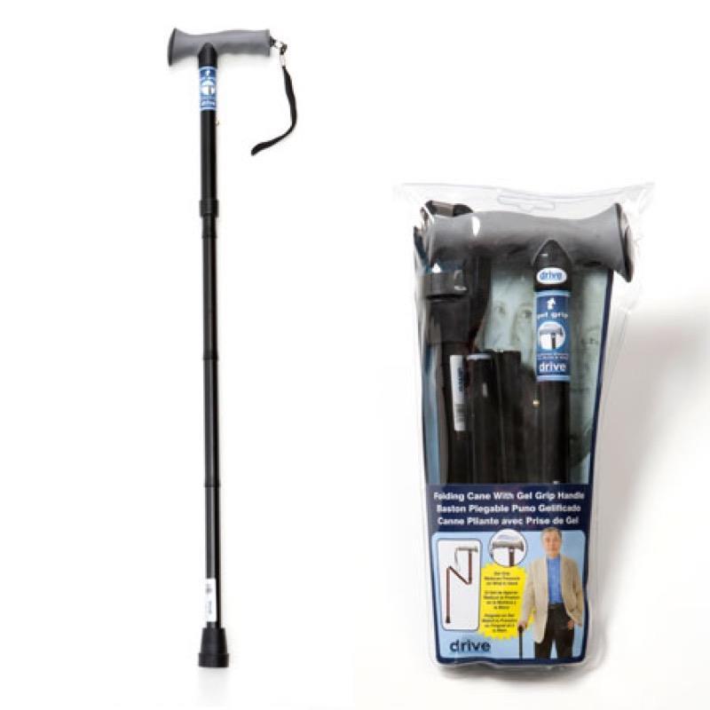 Gel Handle Folding Walking Stick Black
