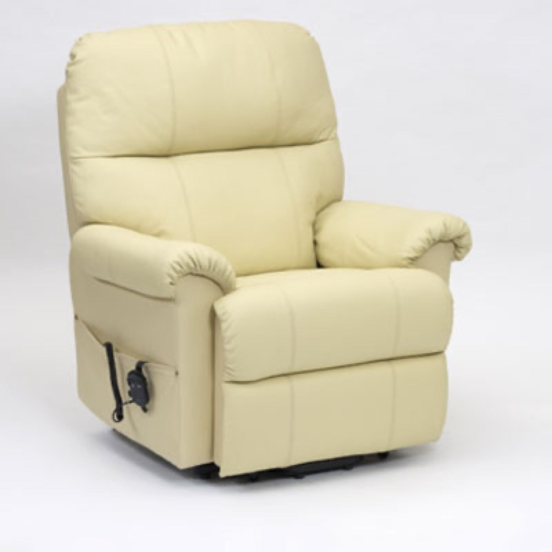 Borg Single Motor Leather Riser Recliner Chair in Cream