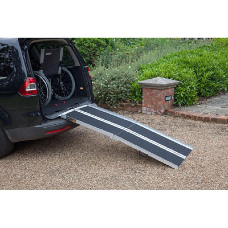 Multi-Fold Wheelchair Ramp with Grip Surface