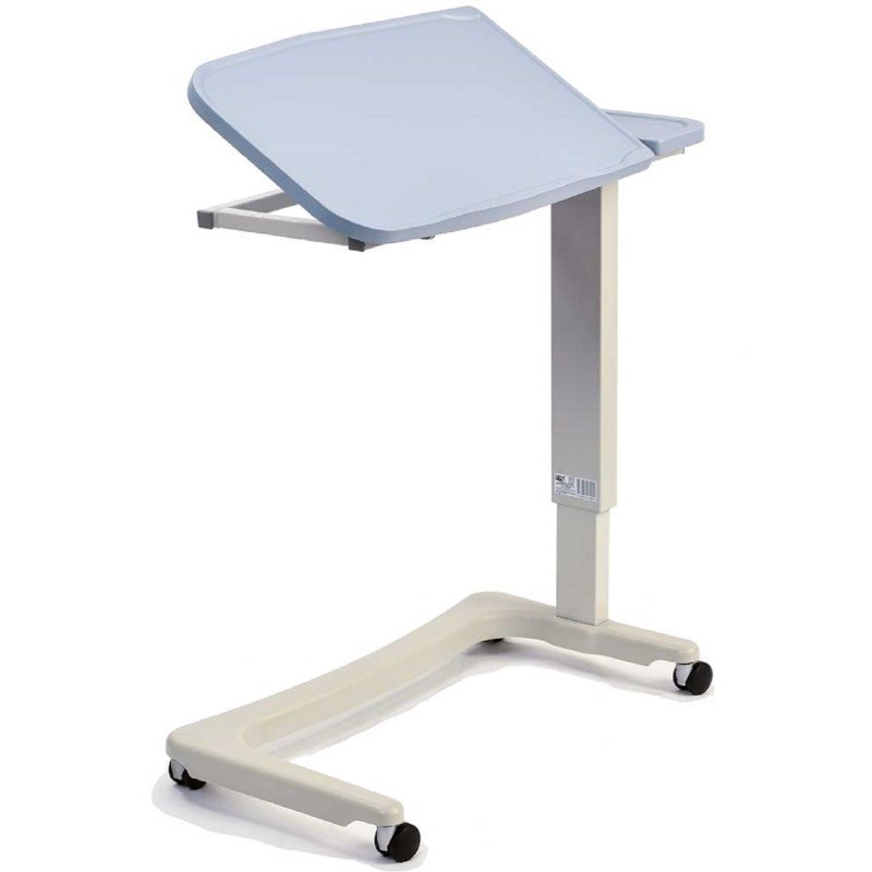 NRS Easy Lift Overbed Table in Blue (Tilt top wheelchair base)